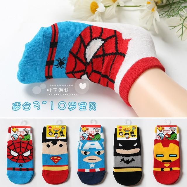 4924422f24c3 Marvel DC Spiderman Cartoon socks fashion funny girls boys Novelty sock  spring autumn Comfortable breathable children's socks
