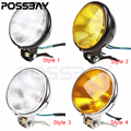 POSSBAY 5'' Metal Motorcycle 12V Black Hight/Low Beam Bulb Retro Headlight For CG125 GN125 Harley Cafe Racer Bobber Custom Bike