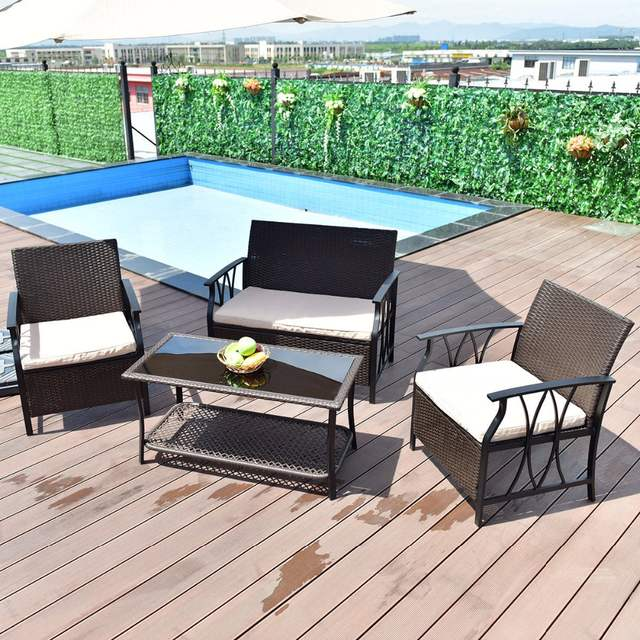 Strange Us 196 99 Giantex 4 Pc Garden Furniture Set Outdoor Patio Sectional Pe Wicker Rattan Deck Table Sofa Chairs Set With Cushions Hw55431 On Home Interior And Landscaping Ologienasavecom
