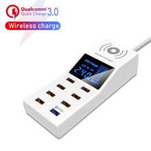 Qi Wireless Charger Quick Charge 3.0 Smart USB Charger Led Display Charging Pad Power Socket Adapter Strip EU US UK Plug fast charging usb charger power travel adapter strip switch led display screen with 8 usb socket ports for us uk eu plug sockets