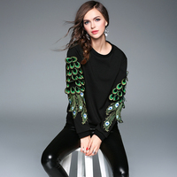 2017 Latest Autumn Winter Luxurious Women Brand O Neck Long Sleeve Hoodie Sweater Feather 3D Embroidery