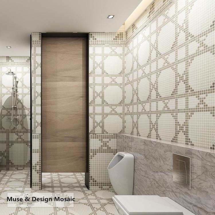 Grey Ceram White Circel Puzzle Art Glass Mosaic Tile For