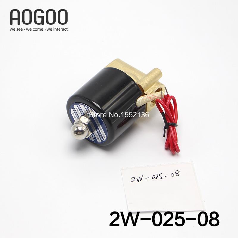 2w-025-08 1/4 AC220V N/C 2 Way 1/4 Gas Water Pneumatic Electric Solenoid Valve Water Air AC220V 3 8 electric solenoid valve water air n c all brass valve body 2w040 10 dc12v ac110v