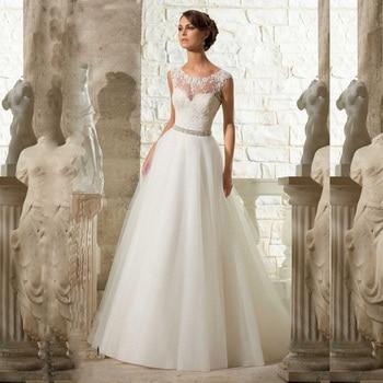 2017 vintage A Line Appliques Beading Beach Lace Wedding Dress See Though Back Tulle Bridal Dresses Cap Sleeve vestido de noiva
