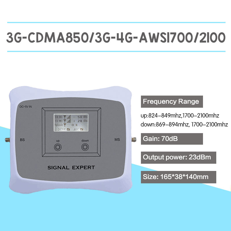 CDMA 850 AWS 1700/2100 2G 3G 4G Mobile Signal Booster 70dB UMTS 850 LTE 1700 Mhz Cell Phone Signal Repeater 4G LTE Amplifier Kit