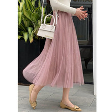 Summer Large Size Pleated Skirt Plus Size High Waist Long Skirt Black Pink Midi Maxi Tulle Mesh Women Skirts Fashion 2019(China)
