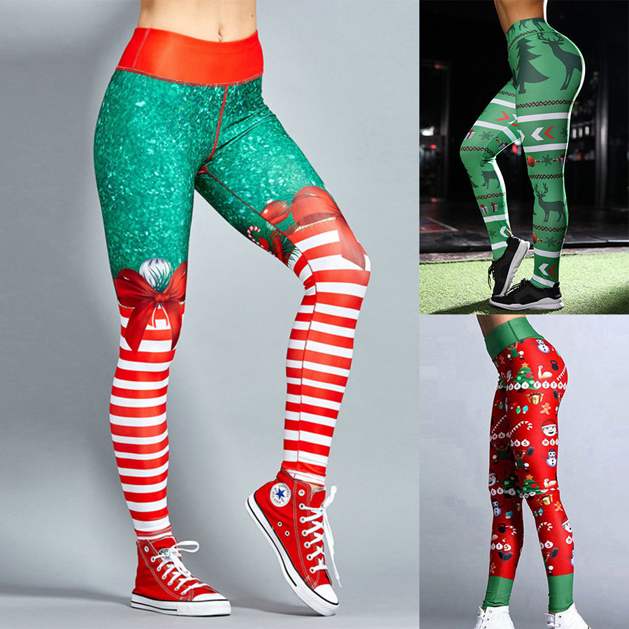 Us 2 9 10 Off Christmas Yoga Pants Women High Waist Elastic Gym Leggings Sport Fitness Sportswear Quick Dry Trousers Colorvalue Yoga Leggings In