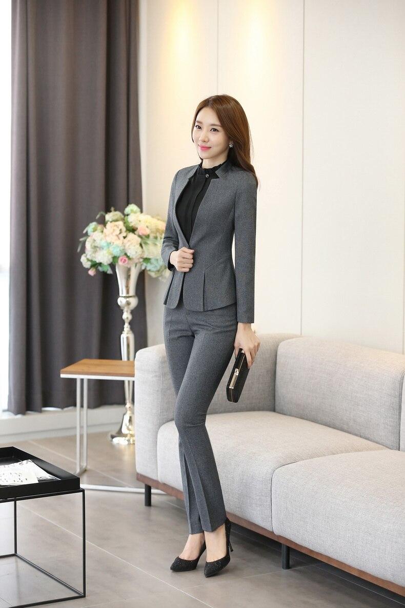 Moda azul oscuro Blazer mujer negocios trajes Formal Oficina trajes ropa de  trabajo pantalones y chaqueta conjuntos belleza salón uniformes en Trajes  de ... 996c209e994