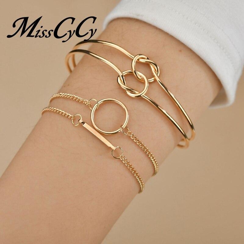 MissCyCy Punk 4Pcs/set Cuff Bangle Simple Double Metal Knot Loop Charm Bracelet for Women Bohemian Jewelry Accessories