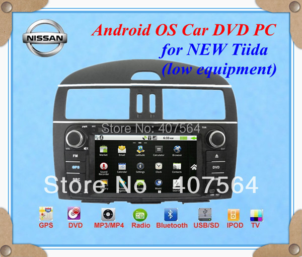 Hot sale!! Android Car DVD PC for NISSAN NEW TIIDA (low equipment) 1080P 1GHZ CPU 512MB RAM WIFI 3G +Free CCD camera