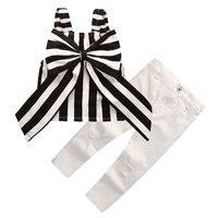 Niños ropa rayas mariposa grande + agujero blanco vaqueros 2 PS niños verano 2 piezas conjunto niñas mariposa grande traje H173