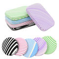 2Pcs Zebra Stripes Makeup Soft Sponge Round Square Cosmetic Face Powder Puff 7LRU