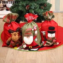 FUNNYBUNNY Christmas Candy Bag Linen Santa Claus Gift Bag, Snowman Deer Drawstring Bags Xmas Decor