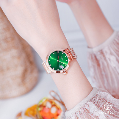 HK GUOU Brand Luxury Watch Fashion Women Watches Stainless Steel Analog Quartz Wrist Watch women Rhinestone watches Reloj Mujer бутылочка для кормления nuk first choice 150 мл с рождения розовый соска с вент из лат р1 для молока 10743216
