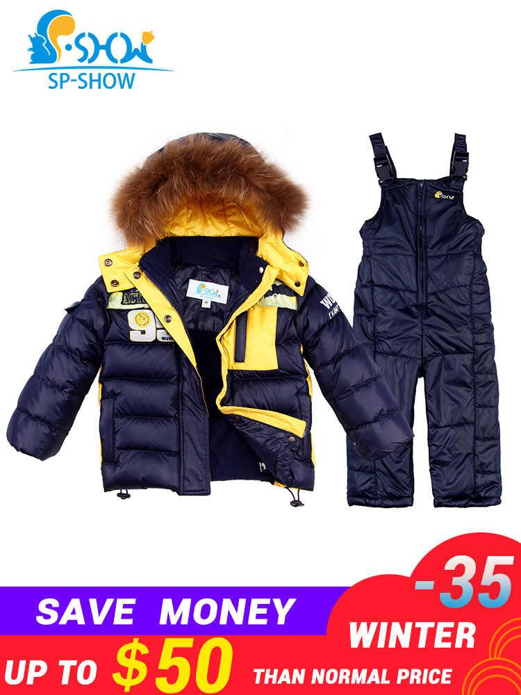 bd78919538dc Kids Clothes Boys Winter Luxury Brand 1-5 Age Children Jackets Two-Piece Set