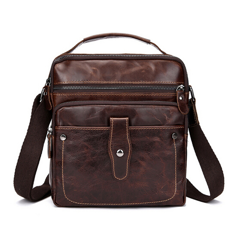 100% Genuine Leather Men Bag Crossbody Bag Vintage Small Men Messenger Bags Casual Business Oil Leather Handbag Shoulder