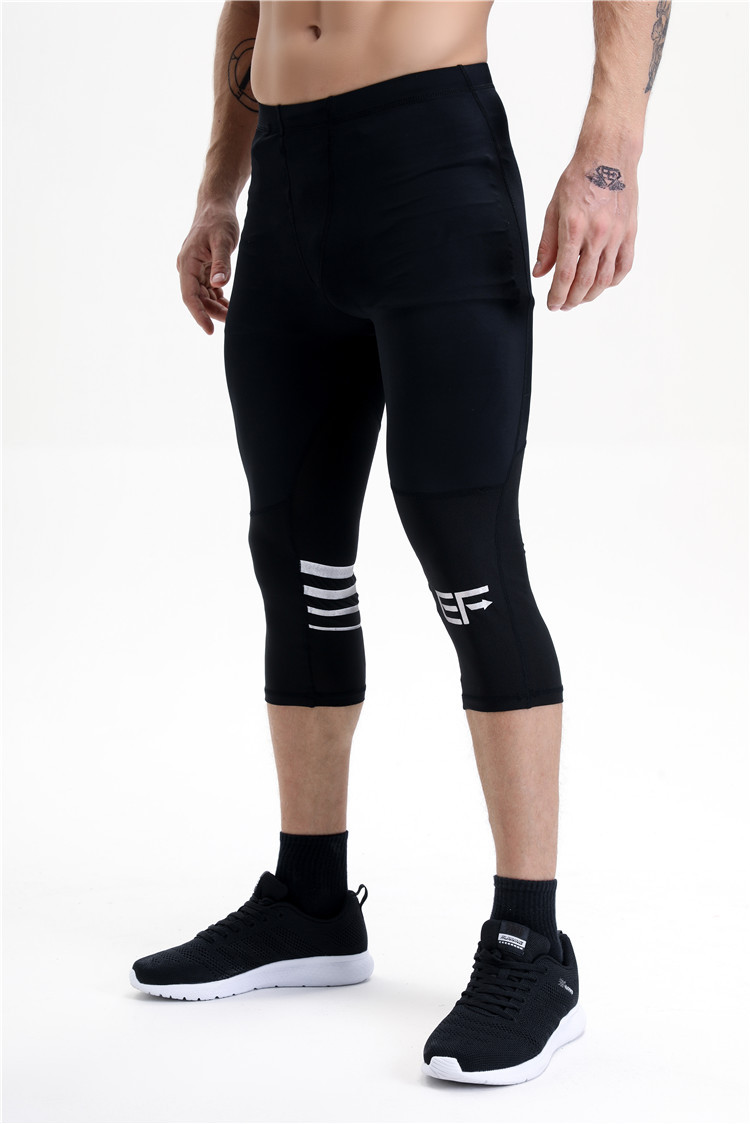 2018 Mens Sports Running 3/4 Pants gym Compression Tights Base Layer Active Workout ClothesFitness Pants