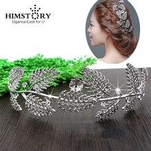 цены HIMSTORY Crystal Leaves Vine Wedding Headband Hair Accessories Bridal Head Tiaras Hair Jewelry Women wedding Party Prom crowns