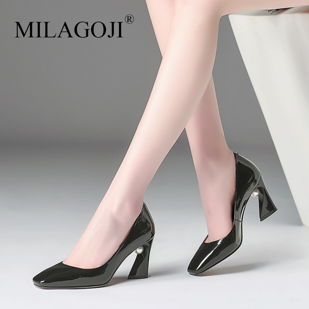 цена MILAGOJI Size 33-43 2018 Pearl Heel 7.5 cm Shallow Women Shoes Fashion Office Work Heels Shoes Elegant Ladies High Heel Shoes
