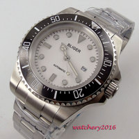 44mm Bliger White Dial Luminous Hands Ceramic Bezel Date Window 2018 Newest Top Brand Luxury Automatic