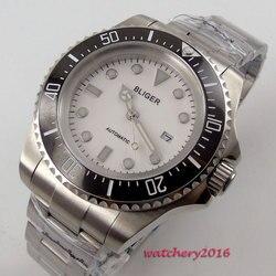 44mm Bliger biała dial luminous ręce ceramiczna ramka data okna 2019 najnowszy Top marka luksusowe automatyczne męski zegarek mechaniczny w Zegarki mechaniczne od Zegarki na