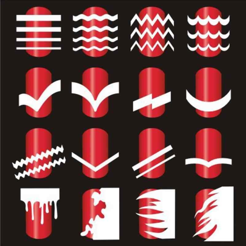 Api Vinyls Kuku Stensil Berongga Stiker Kebakaran Di Manikur Stensil Stiker Gaya Perancis Tidak Teratur Pola Decals Campuran Stripes #