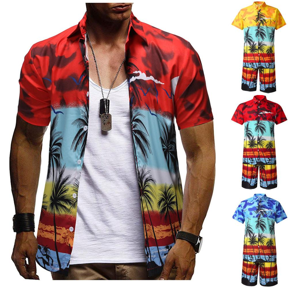 Fashion Men's Casual Button Hawaii Print Beach Short Sleeve Quick Dry Suit Sport Suit Tops Shorts Male Suit Tracksuit J10@