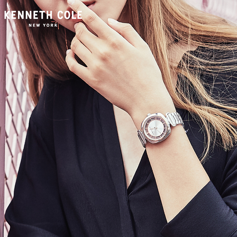 Kenneth Cole Womens Watches Quartz See-through Simple Stainless Steel Waterproof Lady Luxury Brand Watches KC15108001 see through mesh kimono