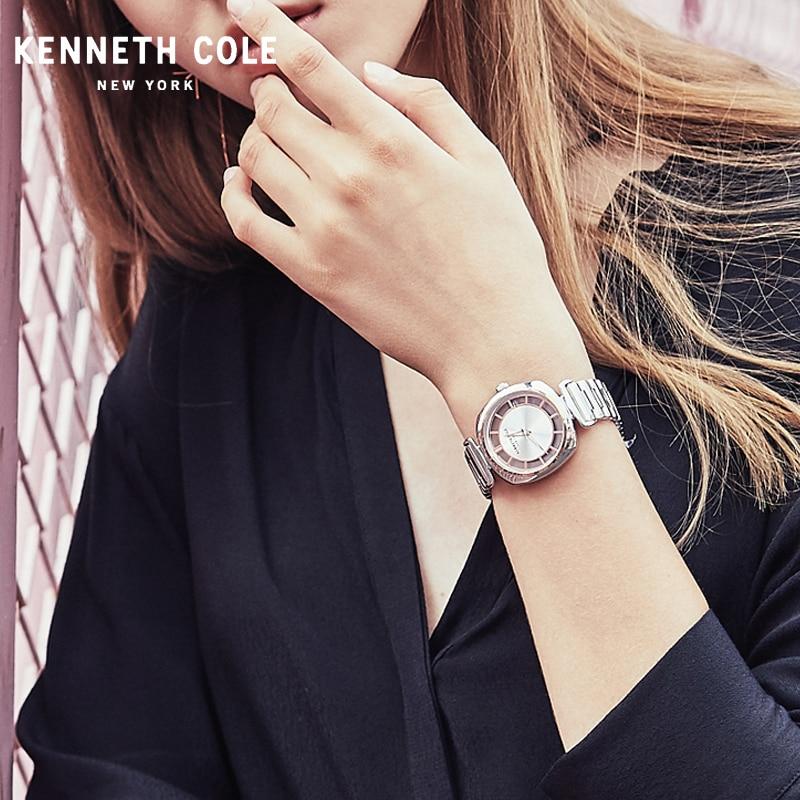 Kenneth Cole femmes montres Quartz transparent Simple en acier inoxydable étanche dame marque de luxe montres KC15108001