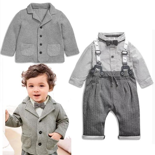 Baby Boy Gentlemen Infantil Clothes Infant Toddler Child Cotton Fashion  Bowknot Shirt  Suspender Pants Outfit 2pcs