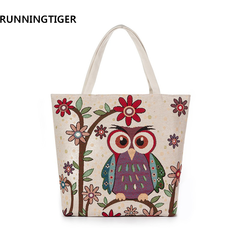 RUNNINGTIGER Owl Printed Women's Casual Tote Ladies Shoulder Handbags Large Capacity Canvas Female Shopping Bag Beach Bag excelsior waterproof canvas casual zipper shopping bag large tote women handbags floral printed ladies single shoulder beach bag