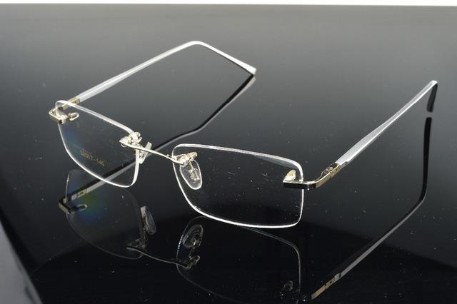 2017 nova liga de prata perna óculos sem aro titanium frame custom made lente miopia óptico e óculos de leitura + 1 + 1.5 + 2 + 2.5to + 8