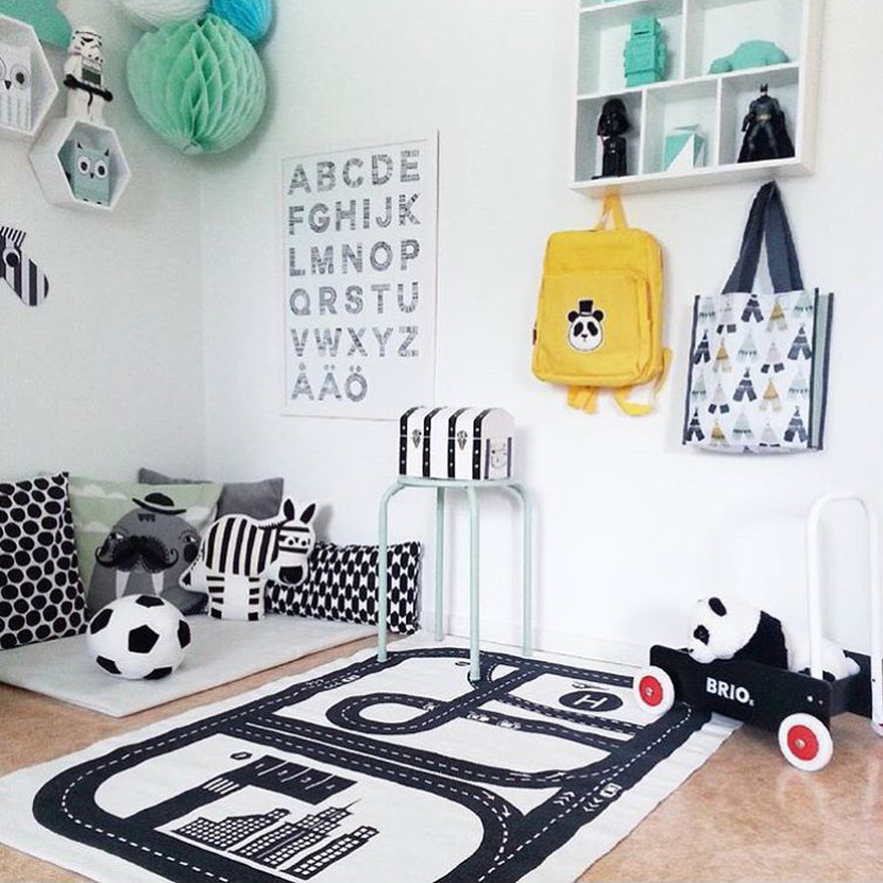 Nordic Style Baby Kids Crawling Blanket Play Mats Road Track Game Pad Gym Play Mat Floor Carpet Kids Room Decoration 125x75cm
