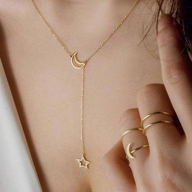Мода звезды луны Кулон Колье Цепочки и ожерелья Золото Цвет сплав цинка цепи Цепочки и ожерелья для Для женщин вечерние украшения стрельба из лука Цепочки и ожерелья