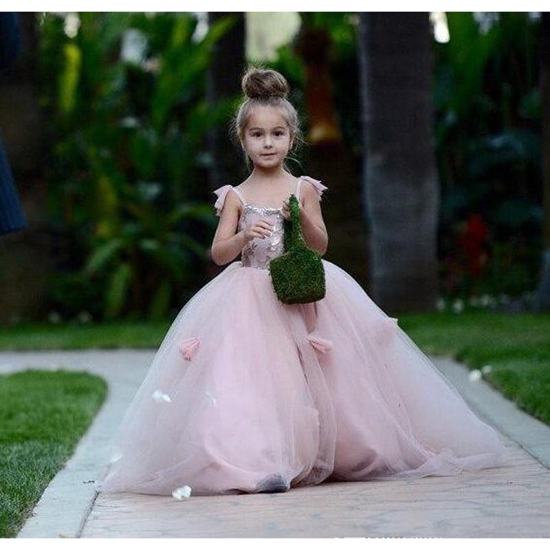 2017 Cute Blush Pink Long Flower Girls Dresses For Wedding