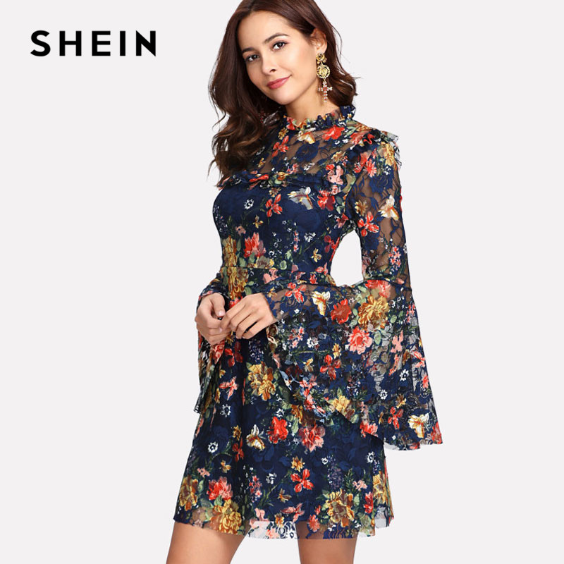 1a089bf232d Aliexpress.com   Buy SHEIN Flower Print Swing A Line Summer Dress Long  Sleeve Spring Multicolor Floral Calico Print Keyhole Back Bell Sleeve Dress  from ...