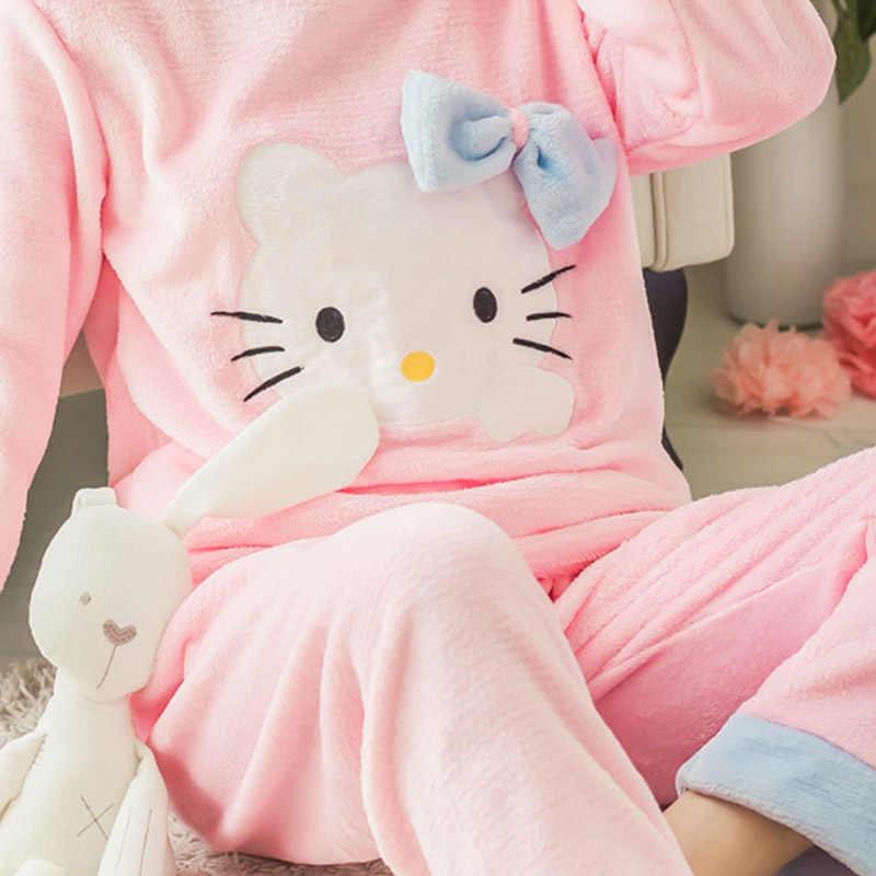 Женские пижамные комплекты, фланелевый костюм с длинными рукавами и штанами, Мультяшные животные, круглый вырез, теплый коралловый бархатный женский костюм, зимняя модная одежда для сна