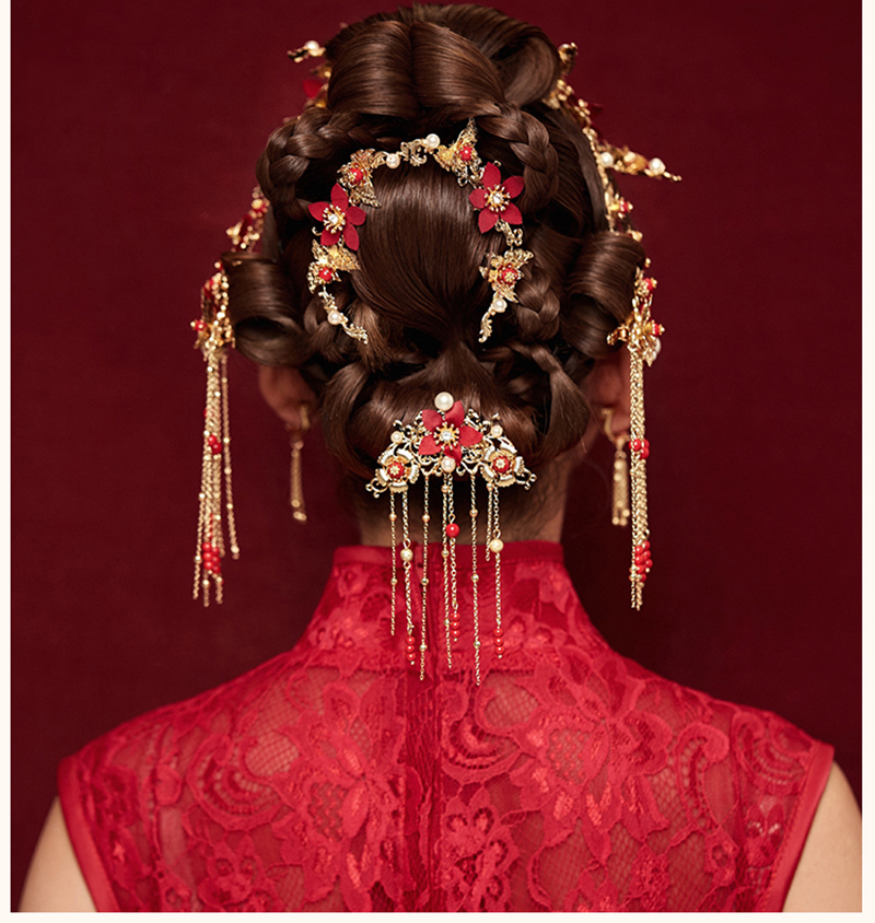 Traditional Chinese Gold Flower Red Pearl Hairpins Hair Stick Wedding Bridal Coronet Hair Jewelry Hair Accessories 1