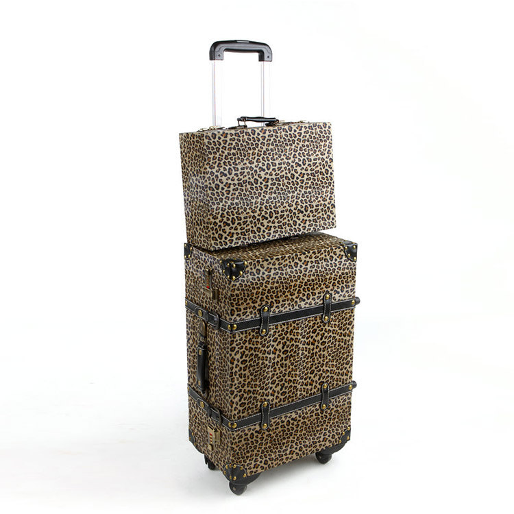 Leopard print Retro Rolling luggage Women Gift Lovely Suitcase PU and Wooden Travel Bag Universal wheel