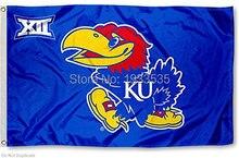 Kansas Jayhawks Big 12 flag 3′ x 5′ Banner brass metal holes Flag