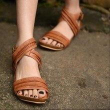 2016 summer genuine leather handmade women sandals personalized bandage open toe flat women shoes 1620-7