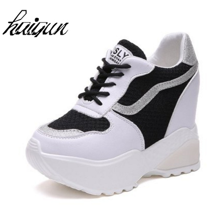 Hot Sales New Spring Autumn 9 cm High Hidden Wedge Heels Casual Shoes Mesh Womens Elevator High-heels Shoes for Women