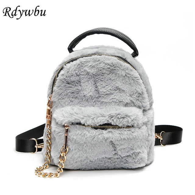Rdywbu New Winter Faux Fur Backpack With Chain Soft Cute Fashion Small Travel Bag Ages S