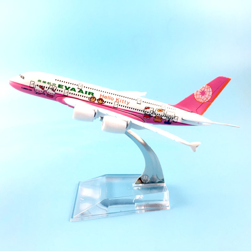FREE SHIPPING 16CM A380 EVA AIR  PINK HELLO KITTY  METAL ALLOY MODEL PLANE AIRCRAFT MODEL  TOY AIRPLANE BIRTHDAY GIFT
