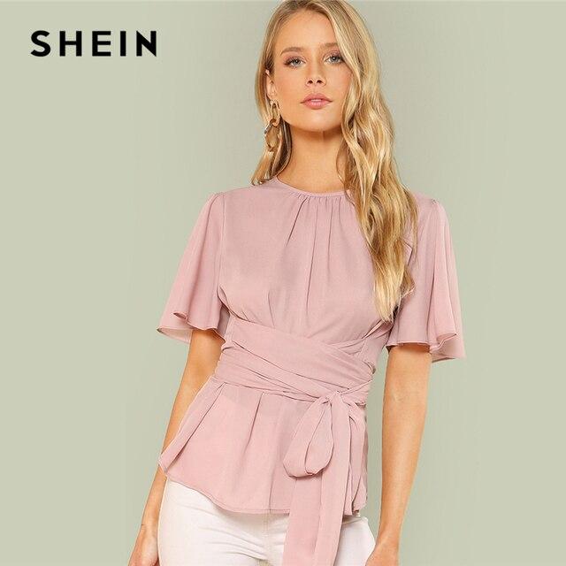 Шеин розовый выходные повседневные со складками спереди изделие поясом шею с коротким рукавом сплошной Блузка Лето Женщины Going Out рубашка Топ