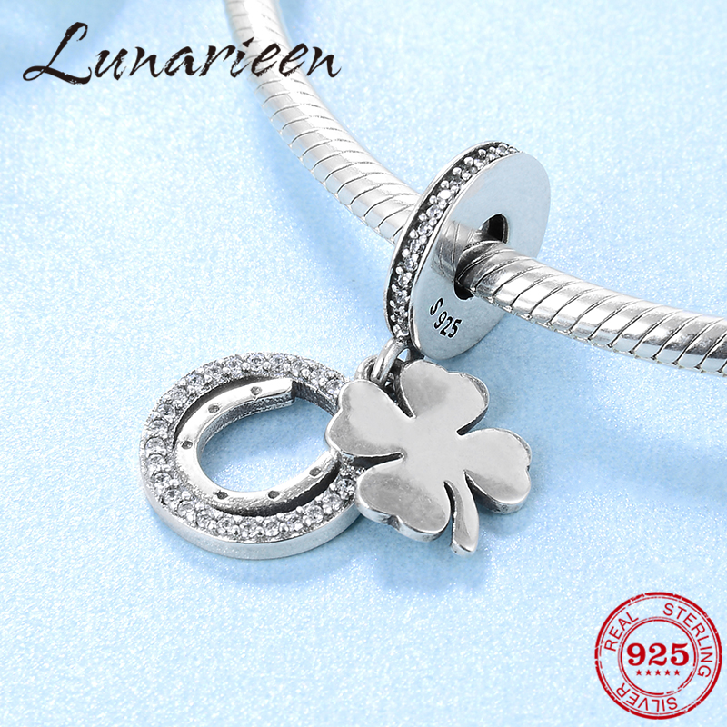 New 100% 925 Sterling Silver Lucky Clover Fashion Fine Pendants Beads Fit Original Pandora Charm Bracelet Jewelry Making
