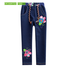 Girls pants children leggings 2019 spring girl cotton applique casual trousers baby girls pencil kid 2-7Y