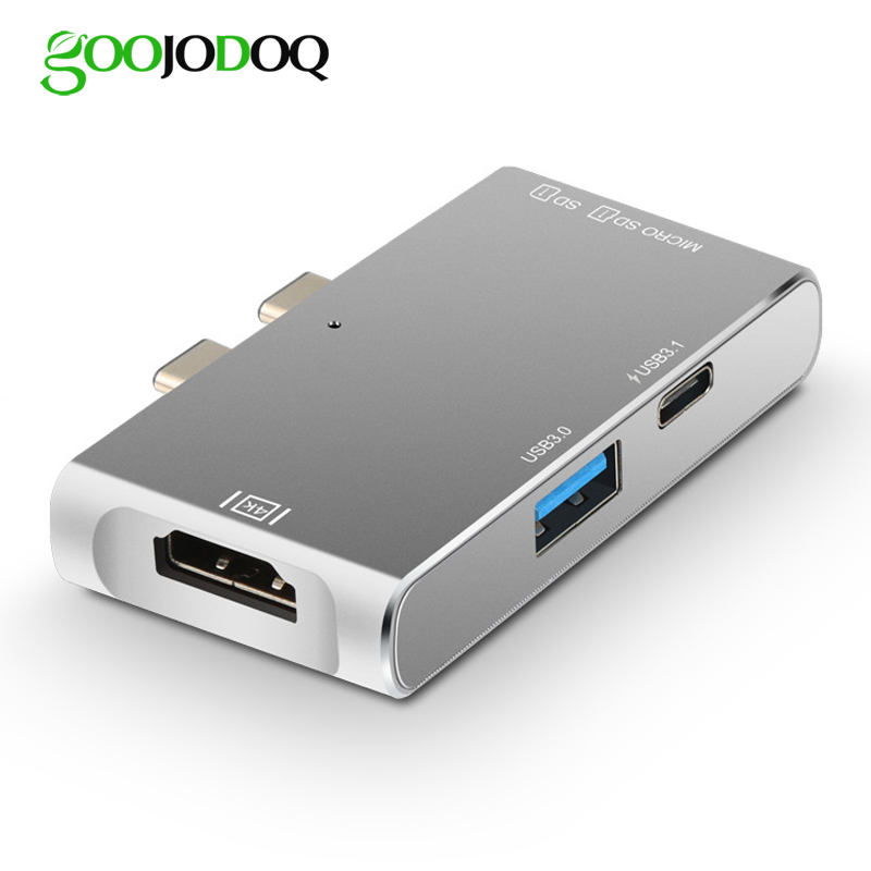 GOOJODOQ USB C HUB HDMI 4k for MacBook Pro thunderbolt 3 Type C Hub with TF SD Card Reader USB-C Charger Port PD USB 3.0 Port usb c charger power delivery qc 3 0 type c pd 3 port fast charger for new macbook samsung hp dell acer asus l