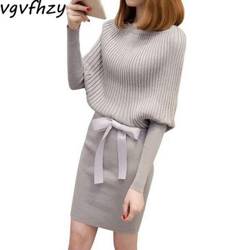 Autumn Sweater dress Winter Elegant Women Sweater Dress Fashion 2017 new Pullovers Loose O-Neck Batwing Sleeve Knitted dress hot sale open front geometry pattern batwing winter loose cloak coat poncho cape for women