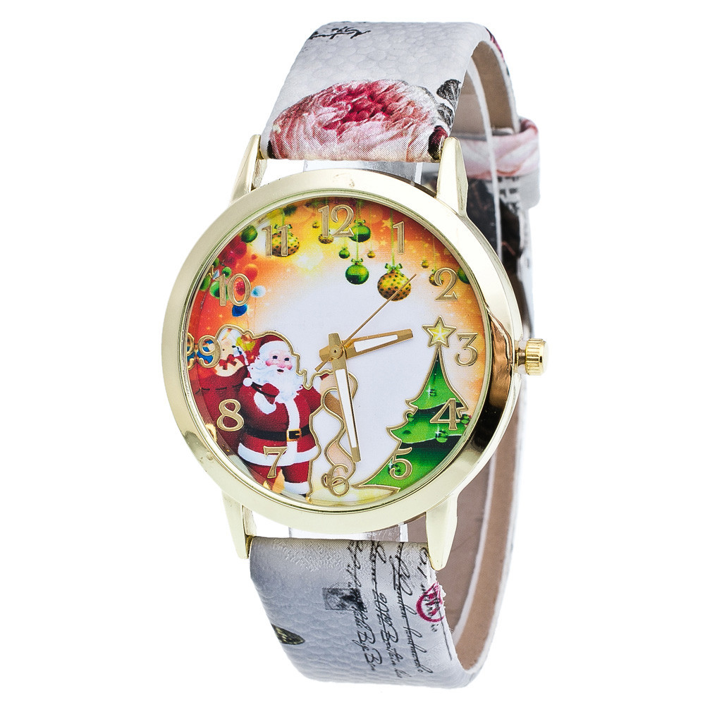 GENVIVIA 2019 New Arrival Watches Fashion Women Lady Glass Mirror Snow House Pattern Printing Leather Watches for Christmas Gift
